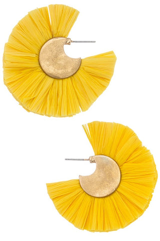 Yellow Fan Earrings