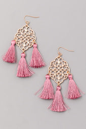 Mauve Tassel Earrings