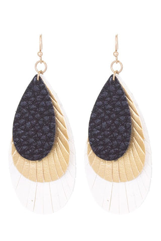 Layered Leather Teardrops