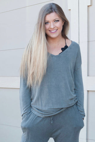 Olive Mineral Wash V-Neck Top