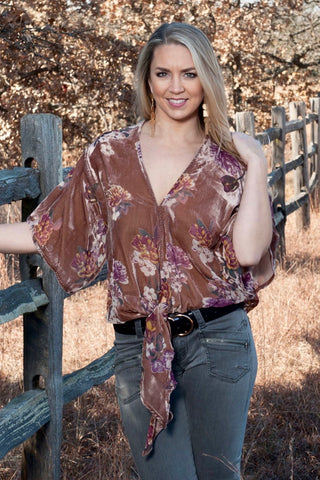 Velvet Burnout Tie Blouse