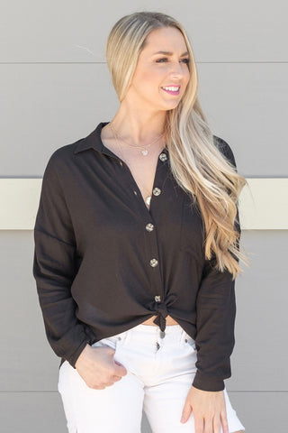 Black Button Oversized Blouse