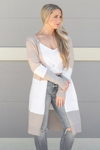 Taupe/White/Grey Striped Cardi
