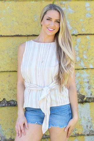 Camel Striped Tie Peplum Tank