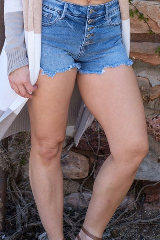 Denim Button Down Shorts