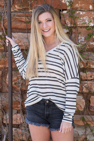 Ivory/Black Striped Drop Sleeve Sweater