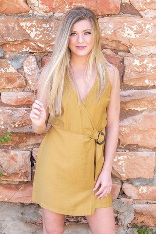 Camel Side Belted Wrap Dress