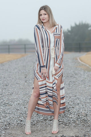 Summer Sunset Striped Midi Dress