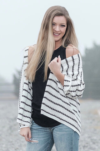 Charcoal Striped Cardi