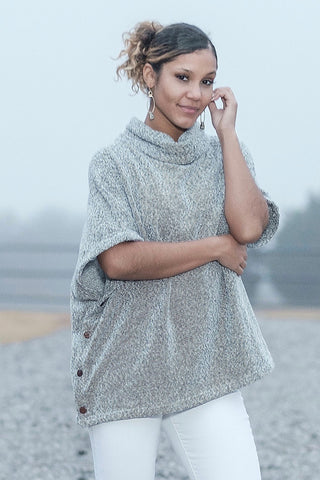 Grey Skies Cowl Neck Poncho
