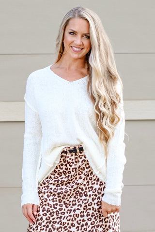 Ivory V Neck Pullover Sweater