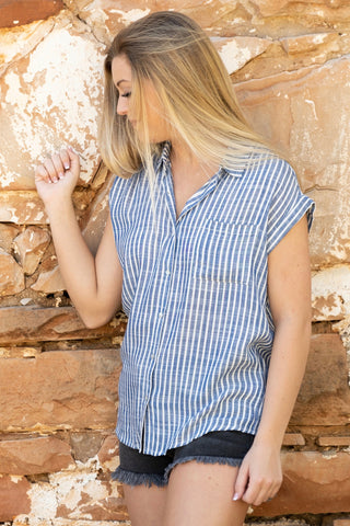 Basic Denim Striped Button Blouse