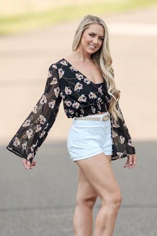 Black Floral Bell Sleeve Crop