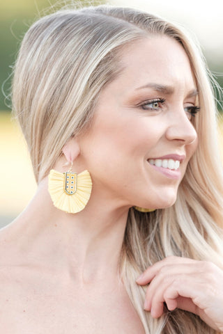Yellow Fan Statement Earrings