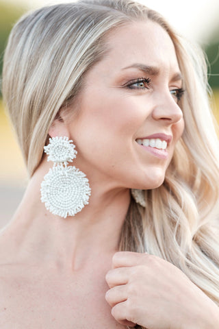 Ivory Statement Beaded Earrings