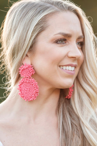 Red Beaded Statement Earrings