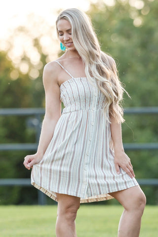 Rouched Striped Sun Dress