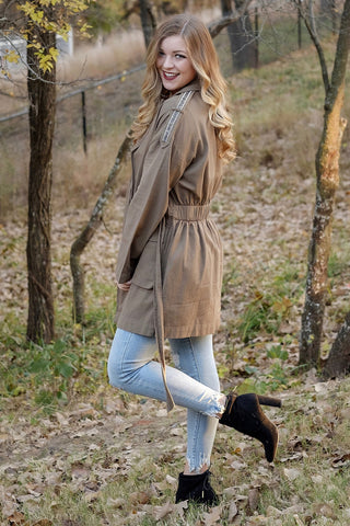 Olive Crystal Sleeve Trench Coat