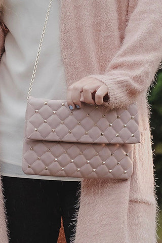 Pale Pink Studded Clutch