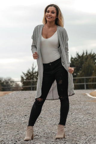 Long Grey Sweater Cardigan
