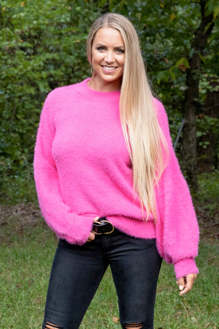 Hot Pink Bell Line Sweater