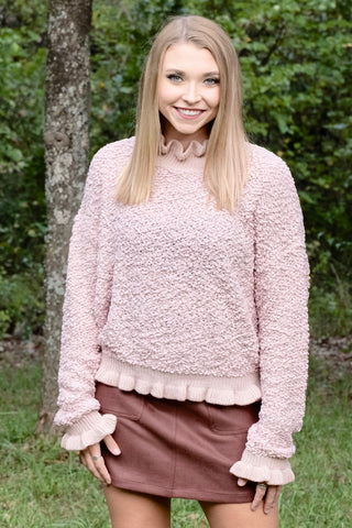 Dusty Rose Ruffle Sweater