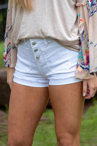 White Button Shorts