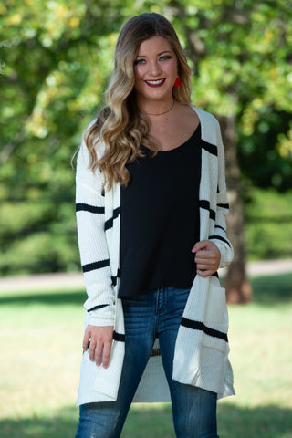 Ivory Striped Cardigan