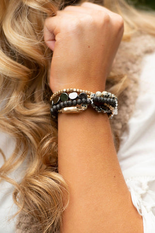 Black Beaded Bracelet Set