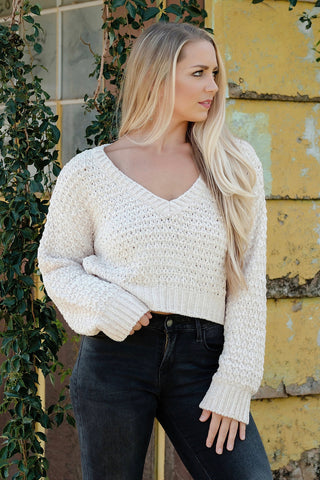Ivory Cropped Chenille Sweater