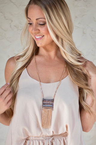 Fringe Beaded Necklace