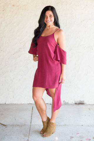 Cold Shoulder Asymmetrical Dress
