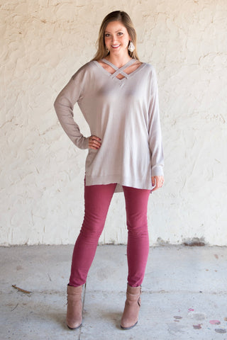 Grey Crisscross Sweater