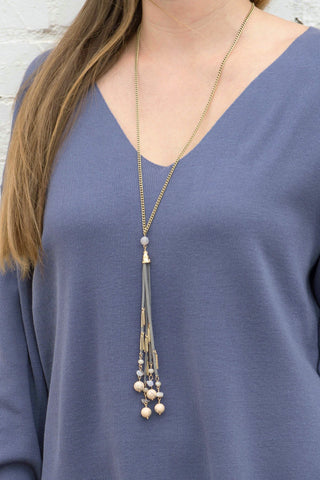 Avery Stone Fringe Necklace