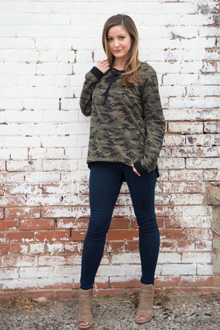 Camo Lace-Up Hoodie