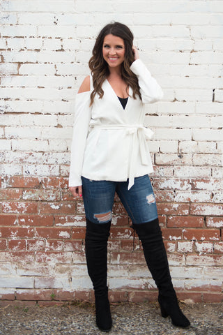 Cold Shoulder Wrap Top