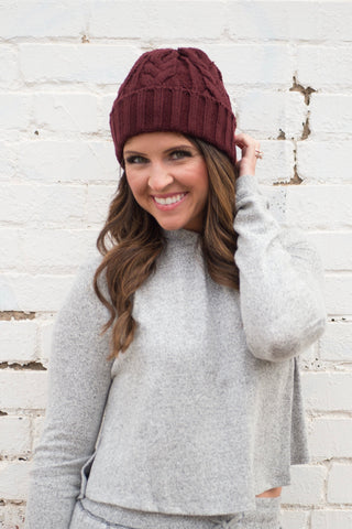 Burgundy Braid Beanie