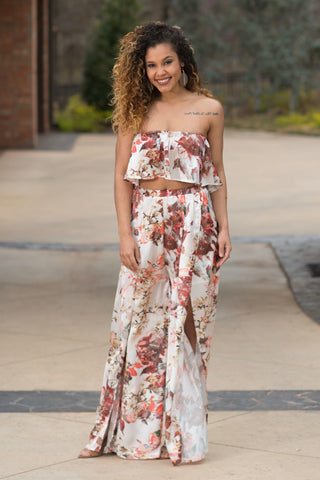Burgundy Floral Two Piece Set