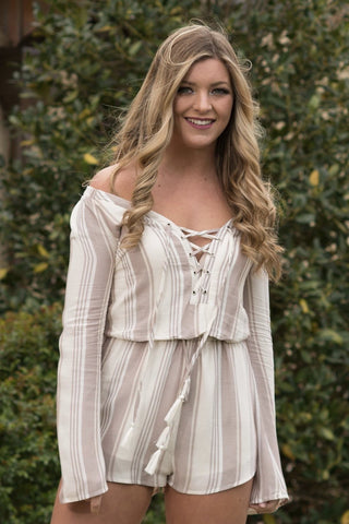 Tan Stripe Romper