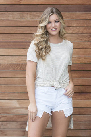 Khaki Striped Tunic Tee