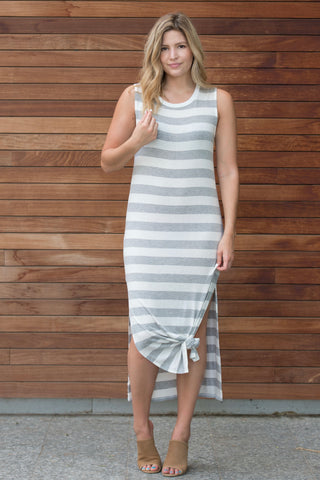 Heather Grey Striped Maxi