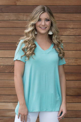 Aqua Cold Shoulder Top
