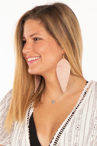 Large Leather Feather Earrings