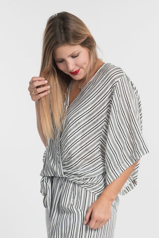B&W Striped Wrap Top
