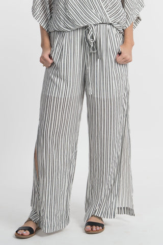 B&W Striped Side Slit Pants