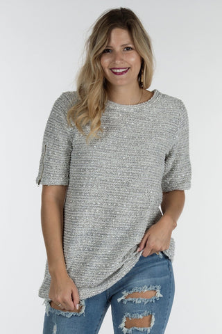 Zipper Tweed Sweater Tee