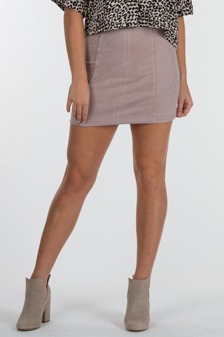 Lavender Suede Mini Skirt