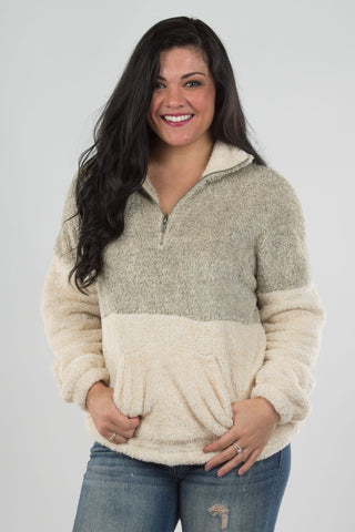Two Tone Fuzzy Pullover