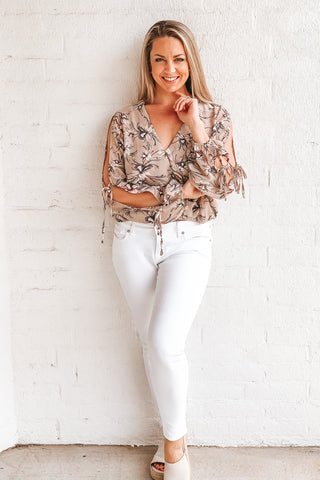 Cutout Cream Floral Crop