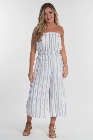 Stripe Strapless Jumpsuit
